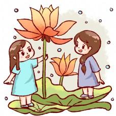 小女孩雨中观赏荷花荷叶
