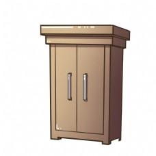 精致的木质衣柜插画