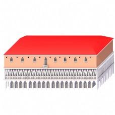 红顶C4D卡通城堡房子