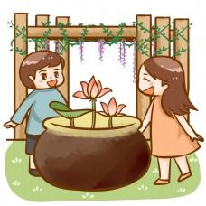 情侣公园庭院观赏荷花