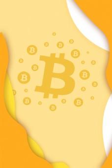 比特币金融卡通黄色背景