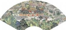 新中式装饰画 扇形花鸟画 山水