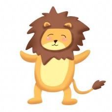 开心快乐的小狮子插画