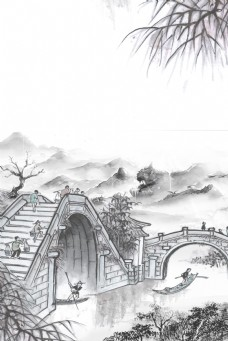 中国风江南水乡石桥远山背景