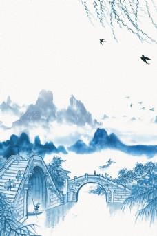 大气江南水乡石桥远山水墨背景
