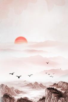 大气复古远山日出背景