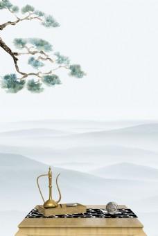 清雅中国风禅意茶道远山背景