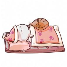 睡觉的小孩和猫咪