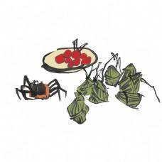 端午节水墨风手绘重彩粽子