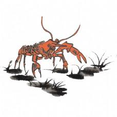 夏天手绘小龙虾手绘水墨风