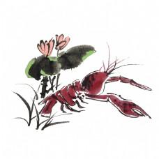 夏季水墨风小龙虾荷花荷叶手绘插画