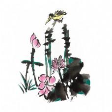 夏季荷花荷叶手绘插画