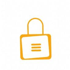 黄色金锁矢量图标