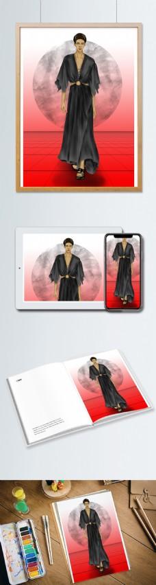 女装服装设计效果图黑色长裙