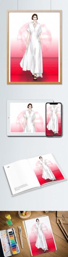 女装服装设计效果图飘逸长裙