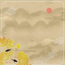 金黄色荷花中国风背景