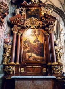 维也纳教堂复古油画
