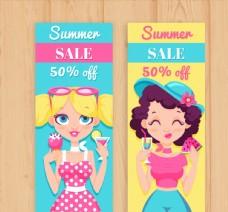 创意女孩夏季半价促销