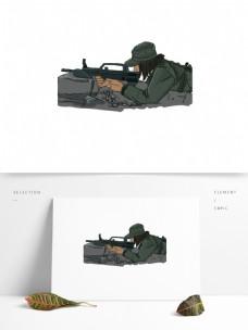 卡通插画女兵战友射击