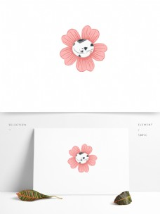 简约唯美小清新花儿与猫元素设计