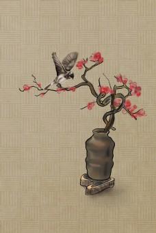 复古中国风花鸟工笔画