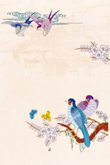 中国风工笔画云雀背景