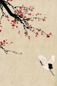 简约中国风复古腊梅枝唯美意境背景