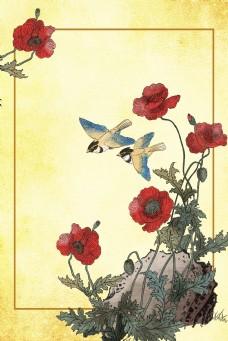 工笔画花朵鸟背景图片