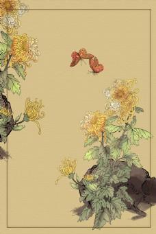 中国风工笔画菊花背景