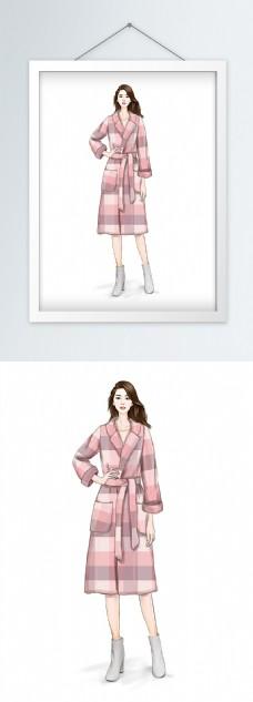 时装画服装设计粉色格纹大衣