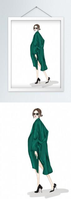 时装画服装设计绿色大衣