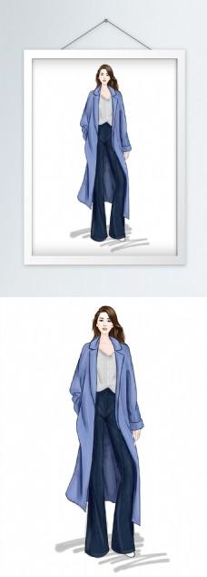 时装画服装设计蓝色大衣