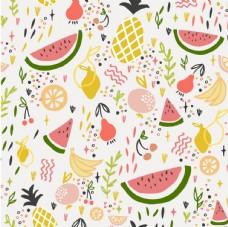 热带水果涂鸦平铺图