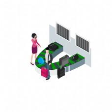 飞机场托运行李装饰元素