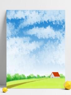 蓝天白云红房子清新大自然背景