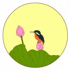 中国风花鸟圆形边框翠鸟荷花矢量免抠图