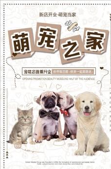 可爱宠物店萌宠之家猫狗促销海报