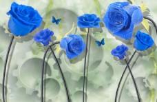 蓝色玫瑰锯齿背景墙