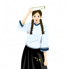 卡通国民风穿着校服的你女学生