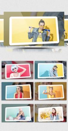 时尚动感卡片翻转Pr相册模板