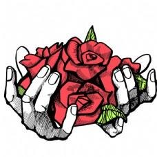 手捧玫瑰花手繪素描