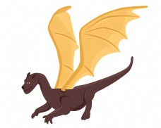 飞翔的恐龙装饰插画