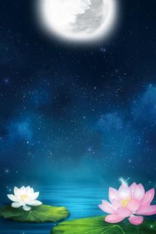 简单荷花池夜景背景