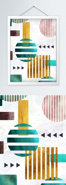 现代简约几何质感纹理图形创意装饰画